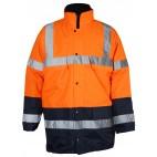 Parka 4 en 1 pluie et froid - SONONYL HV DMD FRANCE - haute visibilité orange fluo et marine