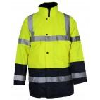 Parka 4 en 1 pluie et froid - SONONYL HV DMD FRANCE - haute visibilité jaune fluo et marine