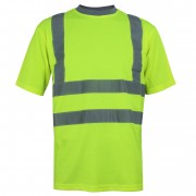 TEE-SHIRT HAUTE VISIBILITE - COL ROND JAUNE FLUO - DMD FRANCE