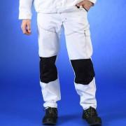 Pantalon de peintre blanc avec cordura noir au niveau des genoux